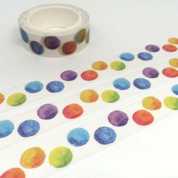 Dots tape 10M colorful dots washi tape cute circle colorful circle polka dots deco sticker tape removable adhesive tape scrapbook gift