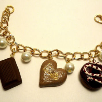 Sweets Lovers Polymer Clay Charm Bracelet Food bracelet Dessert jewelry Kawaii charm bracelet Pearl Bracelet