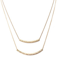 Double Bar Layered Necklace In Gold