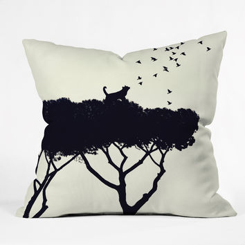 Belle13 Cat and Birds Outdoor Throw Pillow