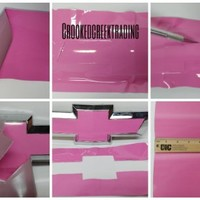 """DownardWrapsTM Auto Wrap Vinyl Sheets - You-Cut your own Pink Decal (4 -Overlays) for Chevy Bowtie Grill Emblem (Badge) - 11"""" x 4"""""""