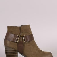 Qupid Harness Strap Chunky Heeled Ankle Boots