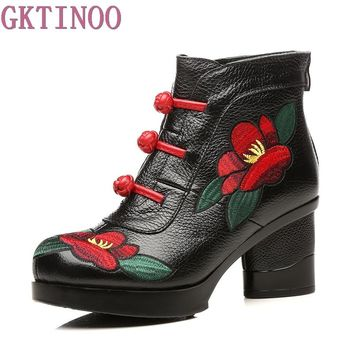 GKTINOO Floral Ankle Boots For Women Autumn Winter Genuine Leather Women's Boots Retro Handmade Comforable Shoes High Heels