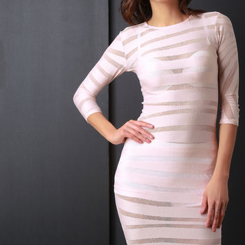 Semi-Sheer Striped Mid Sleeve Bodycon Dress