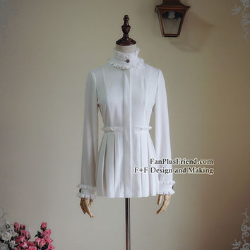 Steel Rose, Elegant Gothic Steampunk Pleated Stand Collar Blouse*2colors Instant Shipping
