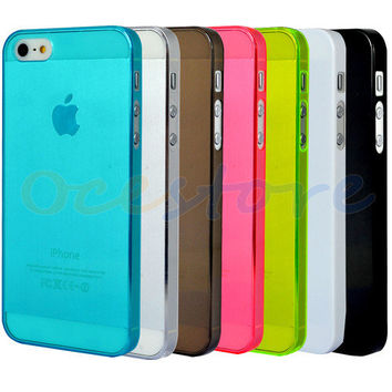 0.5mm Ultra Slim Glossy Hard Case Cover Shell For Apple iPhone 5 5S (7 Colors)