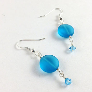 Light bright sky blue sea glass seaglass dangle earrings ~ Tumbled glass and Swarovski crystals ~ Beaded frosted glass jewelry