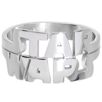 Licensed Steel Star Wars Logo Cut Out Ring