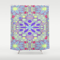 Hippy Circles And Flowers Shower Curtain by ALLY COXON | Society6