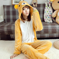 Unisex Flannel Onesuits For Adult Cut Animal Pajamas Onesuits Rilakkuma Bear Hooded Adult Animal Onesuits Pijama