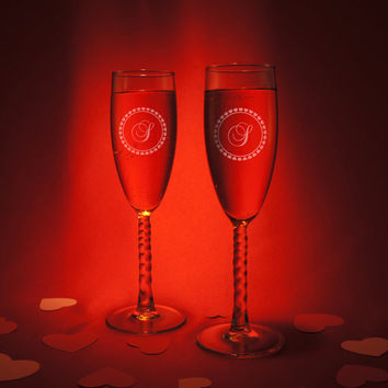 Valentine's Day Personalized Champagne Flutes with Choice of Flute, Inspired Design, and Font from our Selection (Set of Two Flutes)