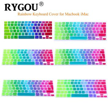 "EU UK English Spanish  French Russian Arabic Soft Silicone Rainbow Keyboard Cover Sticker for MacBook Air 13 pro 13"" with retina"