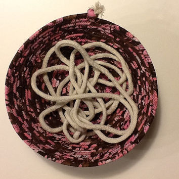 Brown and Pink Batik Coiled Rope Basket, Fabric Bowl, Catchall Basket,  Organizer Basket