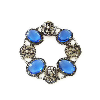 Chinese Sterling Bracelet Phoenix Bird Sapphire Blue Glass China Export Silver Vintage Jewelry