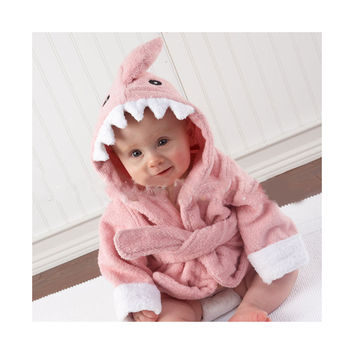 15 Color Children Bathrobe Pure Cotton Good Hydroscopicity Cartoon Cute Sleepwear Pajamas   pink shark