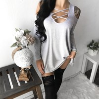 Mia Caged Off Shoulder Sweater (HEATHER GREY)