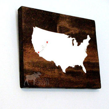 United States Wood Wall Art - best friends, housewarming gift, two cities, friendship, home state, moving gift, wedding gift, rustic decor