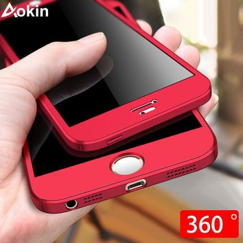 Aokin Phone Case for iPhone 5 5S SE 360 Full Cover Ultra Thin Protection Cases For iPhone 6 6s Plus X 7 8 Case + Tempered Glass