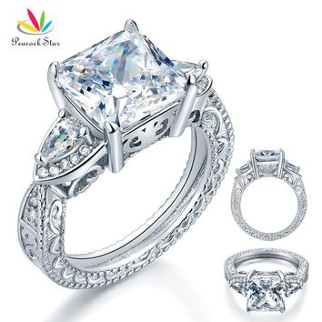 Peacock Star Luxury 3-Stones Solid 925 Sterling Silver Wedding Promise Ring Vintage Style 4 Ct Princess Cut CFR8237