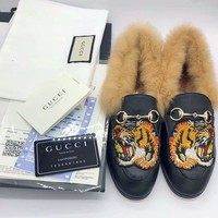 GUCCI Trending Casual Wool Flat bottomed single shoe sandals G