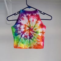 Tie Dye Crop Top -- Music Festival Clothing, Hipster, Boho, Hippie , Rainbow, Colorful
