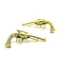 Detailed Gun Pistol Revolver Shaped Stud Earrings in Gold with Rhinestones