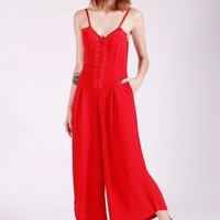 CROCHET TRIM MIDI JUMPSUIT (RED)