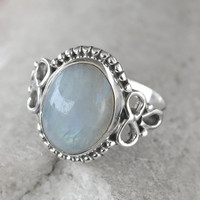 Rainbow ring, moon stone silver ring, silver ring,stone ring Fire Rainbow Moonstone ring, Real Stone Gemstone Ring Size US 4 5 6 7 8 9 10