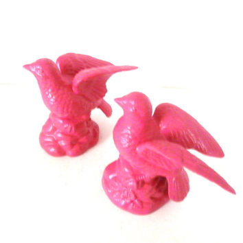 ceramic bird figurines, upcycled, pink home decor, bird sculptures, bird decor