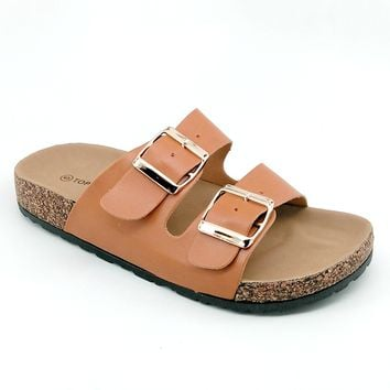 Women's Tan Double Buckle Sandal