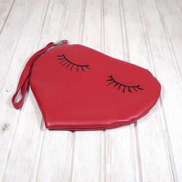Valentine's Day, red purse, bag with hearts, leather red bag, red mini bag, Valentine's gift, handmade small bag,Hand Painted Bag,  love bag