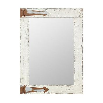 Rustic Arrow Hinges Distressed White Wood Wall Mirror