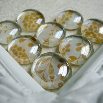 Tan Floral Magnets, Decorative Vintage Magnets, Fridge Magnets, Home Office Decor, Magnet Board, Rare Earth, Neodymium, Dry Erase