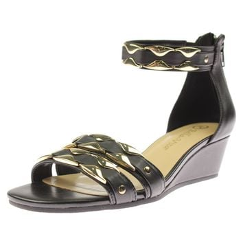 Bella Vita Womens Imogen Leather Metallic Wedge Sandals