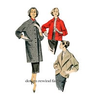 1950s COAT PATTERN JACKET Pattern Button Front Women's Coats Jackets Advance 8442 UNCuT 50s Vintage Womens Sewing Patterns Bust 34