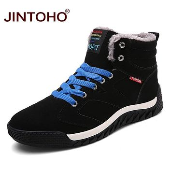 New Fashion Men Winter Boots Casual Winter Shoes Warm Snow Boots Leather Basic Boots Snow Fur Male Shoes