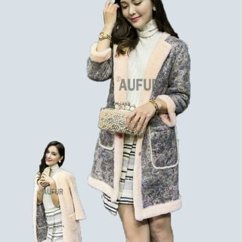 Genuine sheepskin Coat Women Winter Leather Jacket Real Lamb Fur Reversible Dress Soft Leather Printing AU00661