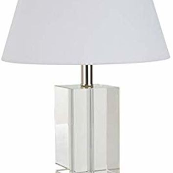 "Stone & Beam Modern Crystal Table Lamp, 18""H, With Bulb, Shade"