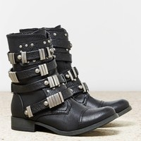 AEO Women's Buckled Moto Boot (Black)