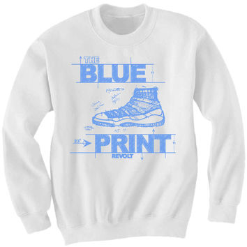 Revolt Apparel Blueprint Legend Blue 11's White Crewneck