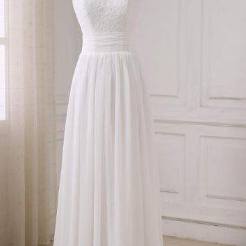 Chiffon Wedding Dresses Summer Cap Sleeve Beach Wedding Gowns Floor Length Bride Dress