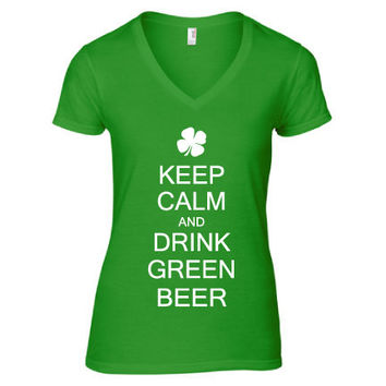 St. Patrick's Day Clothing - Keep Calm & Drink Green Beer V-Neck - Ladies