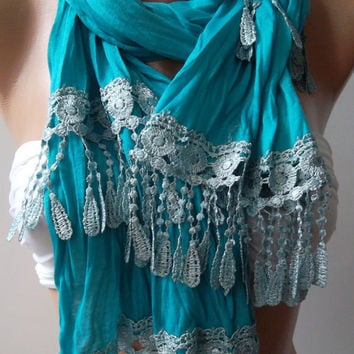 Turquoise  Blue / and Elegance Shawl / Scarf--
