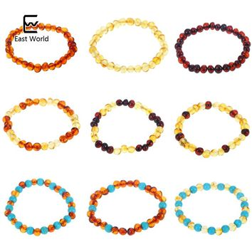 EAST WORLD 16 Styles Natural Amber Bracelets Baby Adult Elastic Jewelry Gifts Baltic Amber Beads Women Stretch Bijoux Pulsera