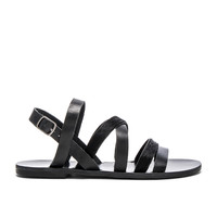 Warm Creature Aurora Cow Hair Sandal in Black & Pony