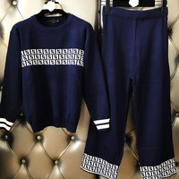 FENDI Autumn Winter New Fashion Women Casual Double F Letter Jacquard Knit Long Sleeve Sweater Top Pants Set Two Piece Blue