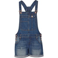 Mid wash turned up short overalls - overalls - playsuits / jumpsuits - women