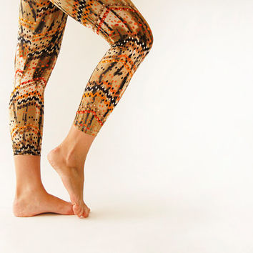 Summer Brown Zig zag & polka dot Women Leggings