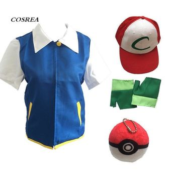 High Quality  Ash Ketchum Cosplay Costumes Pocket Monster Cosplay Blue Jacket + Gloves + Hat + Ash Ketchum BallKawaii Pokemon go  AT_89_9