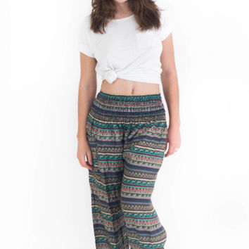 Green Aztec Stripes Harem Pants